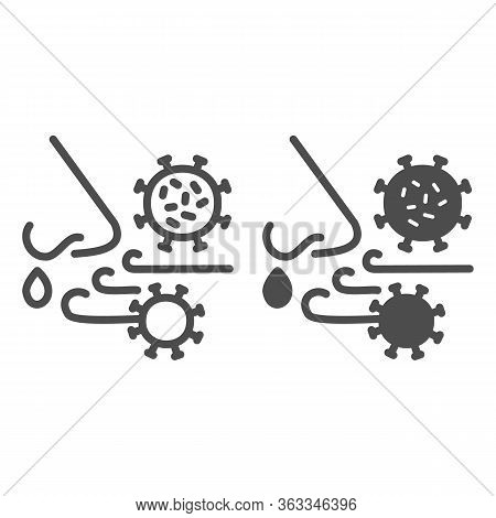 Airborne Virus Spread Line And Solid Icon. Person Breath Virus Bacteria Outline Style Pictogram On W