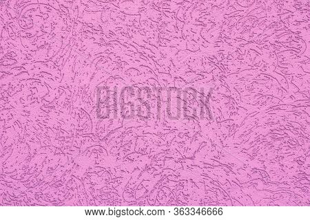 Pink Ribbed Paper Texture. Pattern Backgrounds, Painted Wall With Tracery. Painted Wall. Abstract Ba