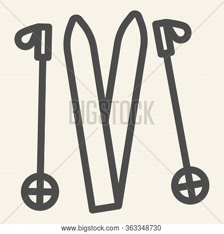 Skiing Line Icon. Ski Equipment Outline Style Pictogram On Beige Background. Skiing Gear Skis And St