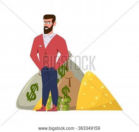 Rich Millionaire. Relaxed Businessman Or Wealthy Entrepreneur In Suit With Profit Money Pile Vector