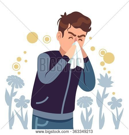 Sneezing Man. Spring Allergy, Symptom Sickness Runny, Itchy And Sneeze, Cough And Lacrimation, Healt