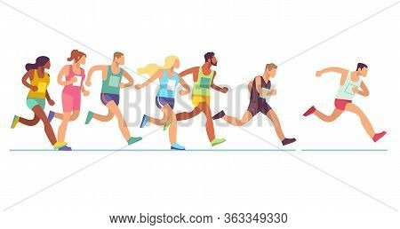 Running People. Men And Women In Sports Clothes On Marathon Race, Athletics Event, Sports Group Jogg