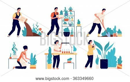 People Planting. Woman Working On Ground. Cartoon Harvesting, Person Gardening Hobby. Flat Agricultu