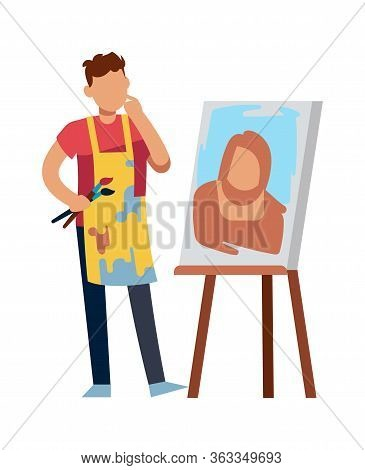 Artist Character Drawing Picture. Drawing Man With Paintbrush At Picture Canvas, Vector Painter Or D