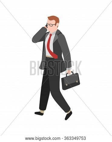 Businessman Goes To Work. Manager Working With Phone Vector Cartoon Busy Character