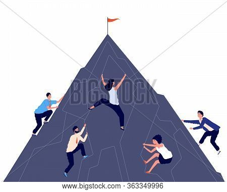 Business Climbing. Men Women Active Climb. Success Entrepreneur, Ambition And Professional Growth. B