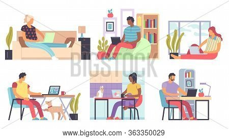 Freelance People. Men And Women Working Remotely Home On Laptops And Computers, Self Employed Distan