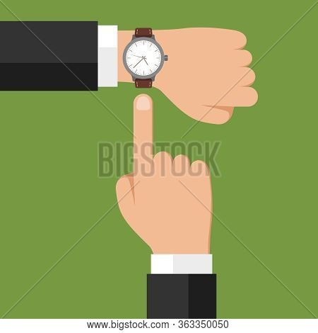 Wristwatch On Hand. Businessman Showing Time On His Watch, Checking Time Or Symbol Of Deadline. Mini