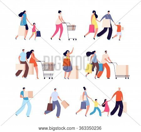 Family Shopping. Consumers, Woman Buy Food Or Clothes. Isolated People With Bag For Shop. Kids And A