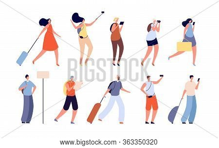 Tourist People. Traveler Characters, Adult Travelling With Bags. Isolated Youngs Man, Woman With Cam