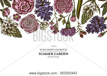 Floral Design With Colored Peony, Carnation, Ranunculus, Wax Flower, Ornithogalum, Hyacinth Stock Il
