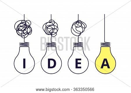 Light Bulbs Idea Concept. Simplify Complexity, Graphic Of Problem Solution. Creative Thinking Proces