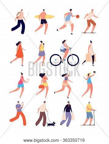 Summer People. Happy Female, Fun Walking Person. Isolated Street Sport, Bikes And Pet Lover, Skatebo