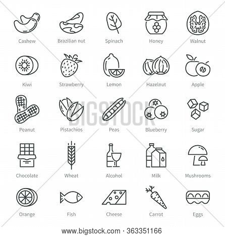 Food Allergens. Simple Allergen Icons. Alcohol And Seeds, Nuts, Honey. Celiac, Intolerance Gluten In