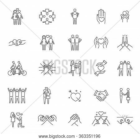 Friendship Icons. Respect Community, Line Care Solidarity Love Symbols. Business Partnership Or Trus
