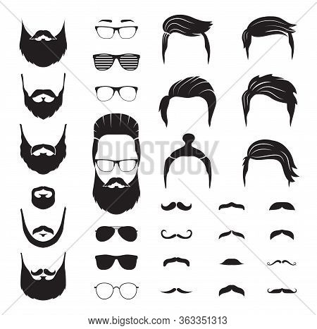 Hipster Man. Male Beard, Mustache Hair. Isolated Man Face With Glasses. Fashion Barber Shop Icons. P