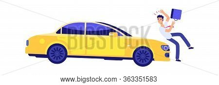 Car Knocks Down Person. Accident, Insured Event. Car And Pedestrian Violating Traffic Rules Vector I