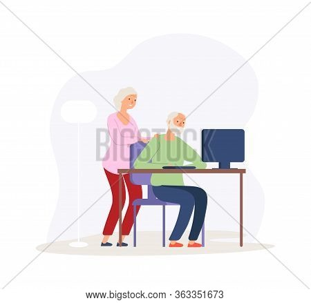 Computer Education. Old Couple Studying Modern Digital World. Elderly People Video Calling Or Online