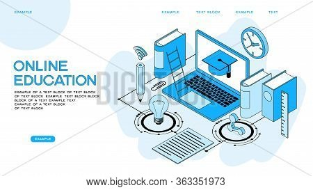 Laptop Book Electronic Library And Cloud Computing Conceptual Images. Modern Design Concept Of Onlin