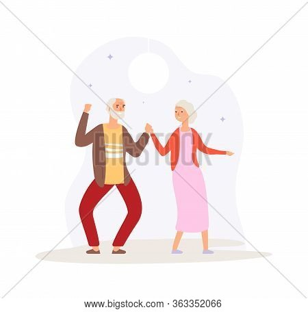 Grandparents Dancing. Happy Elderly Couple Party. Man Woman Dance On Disco, Fun Active Time. Old Peo