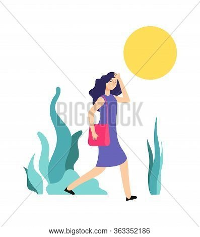 Hot Weather. Sunny Summer Day, Woman Walks. Girl Is Hot, Heat Or Sunstroke. Wrong Summertime Behavio