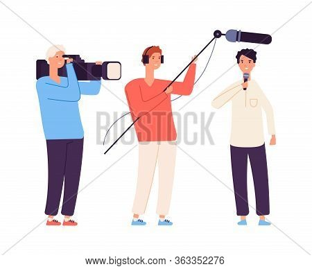 Live Streamer. News, Broadcaster Journalist. Tv Show Or Interview Shooting. Camera Crew And Man With