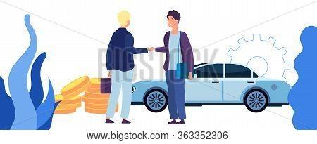 Man Buying Car. Contract Of Sale, Business Agreement. Good Deal, Men Handshake Vector Concept. Busin