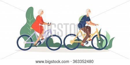 Old Couple On Bikes. Elderly Activity, Grandmother Grandfather In Park Or Forest. Woman Man Relaxed,