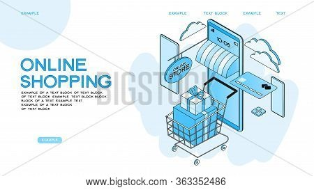 The Sale And Consumer Concept. A Person Buys An Online Store Using A Smartphone. Landing Page Templa