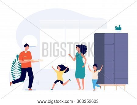 Pizza Delivery. Happy Kids, Mothe, Boy With Food Box. Family Waiting Dinner Vector Illustration. Piz