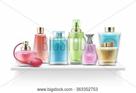 Realistic Perfume Bottles. Spray Glass Bottle, Cosmetic Pack. Isolated Fragrance Bottle On Shelf For