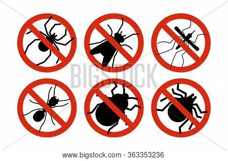 Stop Insects. Tick, Bugs And Mosquito Silhouettes. Warning Prohibited Sign, Anti Insect Vector Icons