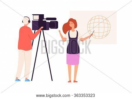 Tv Presenter. Live News, Journalist Camera Crew. Video Blog Or Live Stream, Woman Talk About World.
