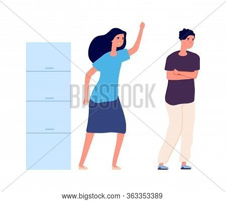 Woman Abusing Man. Wife And Husband, Isolated Family Characters. Quarrel Or Bullying Vector Illustra