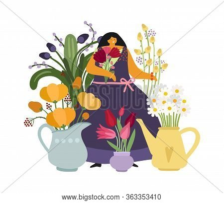 Woman With Flowers. Flower Girl, Gardener Or Plant Lover. Florist, Floral Shop. Mother Day Card With