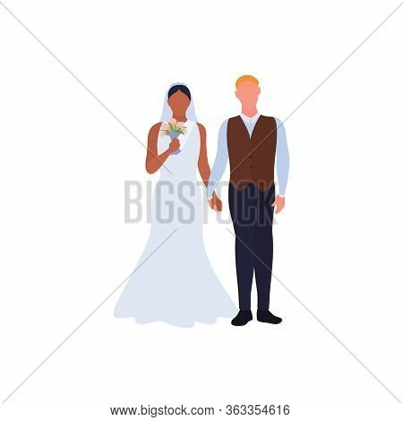 Beautiful Young Bride And Groom, Love Couple Holding Hands On Wedding Day. African American Woman In