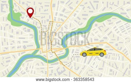 Map Of Taxi Car. App Navigator, Gps On Street Of City. Direction, Destination Of Taxi Vehicle On Roa