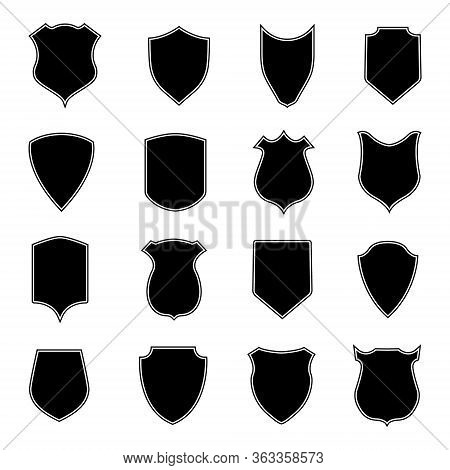 Set Shield Shapes. Badge, Crest And Icon Of Security. Blank Black Banner And Emblem For Coat Of Safe