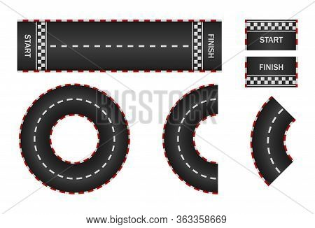 Infinity Race. Track With Start, Finish And Line On Road. Curve And Circle Racetrack. F1 In Street.