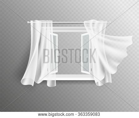 Open Window. White Frame With Glass And Curtains. Interior Design, Isolated Windows Decorated Flying