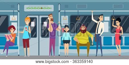 Metro Passenger. People In Urban Subway Train Reading Book Watching Smartphone Listen Music Vector P