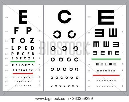 Eyes Charts. Ophthalmology Vision Test Alphabet And Letters Optical Alphabet Letters Vector Set. Med