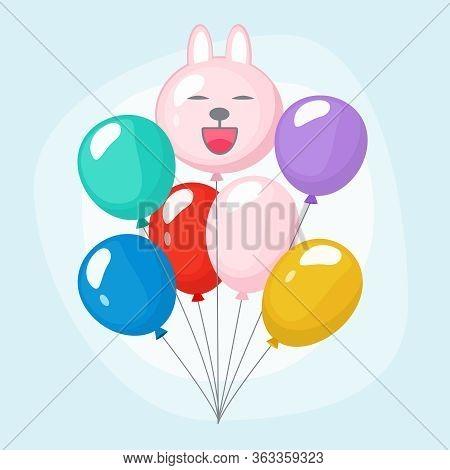 Bundle Balloons. Colorful Joyful Bunch Of Party Air Balloons Vector Cartoon Set. Air Bundle Helium B