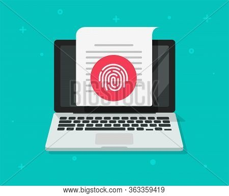 Security Protection Via Touch Fingerprint Or Thumbprint On Computer Laptop Document Vector, Flat Pc