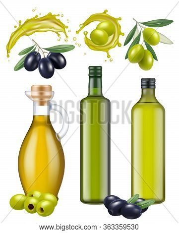 Olive Bottles. Oil Glass Package Healthy Natural Products For Cooking Food Green And Black Greek Oli