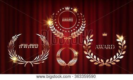 Award Signs. Shine Laurel Wreaths On Red Curtains. Golden Bronze Celebration Anniversary Vector Labe