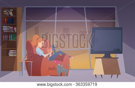 Woman And Cats. Happy Girl In Living Room With Her Pets. Female, Cat And Hamster Vector Illustration