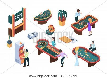Casino People. Gaming Nightclub Cards Poker Slot Machine Gambling Characters Vector Isometric Illust