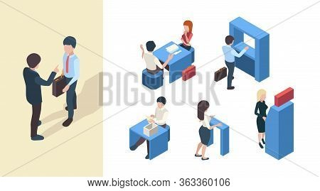 Bank Clients. Business Service Managers Reception Banking Customers Office Open Spaces Vector Isomet