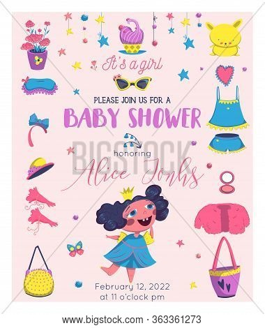 Baby Shower Girl Card Design With Princess Elements Set. Girlish Fashion. Design Template For Birthd